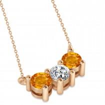 Three Stone Diamond & Citrine Pendant Necklace 14k Rose Gold (1.00ct)