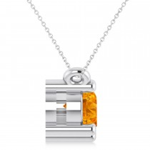 Three Stone Diamond & Citrine Pendant Necklace 14k White Gold (1.00ct)