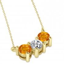 Three Stone Diamond & Citrine Pendant Necklace 14k Yellow Gold (1.00ct)