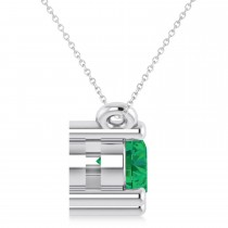 Three Stone Diamond & Emerald Pendant Necklace 14k White Gold (1.00ct)