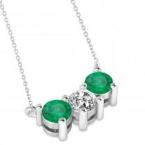 Three Stone Diamond & Emerald Pendant Necklace 14k White Gold (1.00ct)