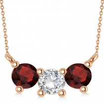 Three Stone Diamond & Garnet Pendant Necklace 14k Rose Gold (1.00ct)