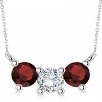 Three Stone Diamond & Garnet Pendant Necklace 14k White Gold (1.00ct)