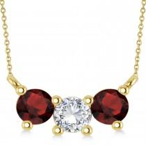 Three Stone Diamond & Garnet Pendant Necklace 14k Yellow Gold (1.00ct)