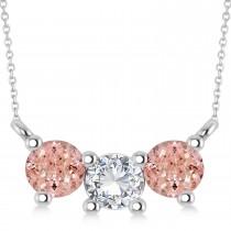 Three Stone Diamond & Morganite Pendant Necklace 14k White Gold (1.00ct)