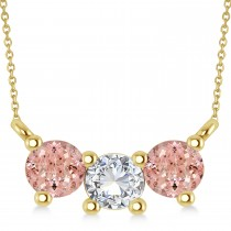 Three Stone Diamond & Morganite Pendant Necklace 14k Yellow Gold (1.00ct)