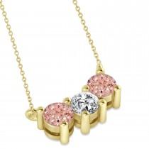 Three Stone Diamond & Morganite Pendant Necklace 14k Yellow Gold (1.00ct)