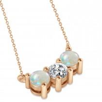 Three Stone Diamond & Opal Pendant Necklace 14k Rose Gold (1.00ct)