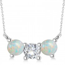 Three Stone Diamond & Opal Pendant Necklace 14k White Gold (1.00ct)
