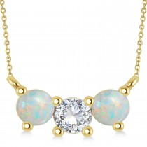 Three Stone Diamond & Opal Pendant Necklace 14k Yellow Gold (1.00ct)