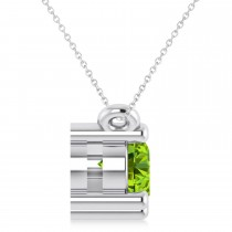 Three Stone Diamond & Peridot Pendant Necklace 14k White Gold (1.00ct)