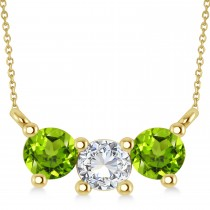 Three Stone Diamond & Peridot Pendant Necklace 14k Yellow Gold (1.00ct)