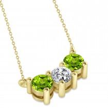 Three Stone Diamond & Peridot Pendant Necklace 14k Yellow Gold (1.00ct)