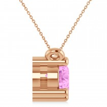 Three Stone Diamond & Pink Sapphire Pendant Necklace 14k Rose Gold (1.00ct)