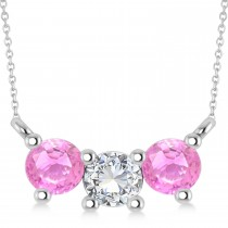 Three Stone Diamond & Pink Sapphire Pendant Necklace 14k White Gold (1.00ct)