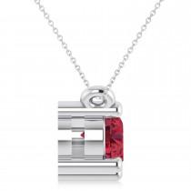 Three Stone Diamond & Ruby Pendant Necklace 14k White Gold (1.00ct)