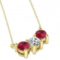 Three Stone Diamond & Ruby Pendant Necklace 14k Yellow Gold (1.00ct)