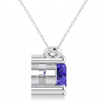 Three Stone Diamond & Tanzanite Pendant Necklace 14k White Gold (1.00ct)