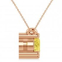 Three Stone Diamond & Yellow Diamond Pendant Necklace 14k Rose Gold (1.00ct)