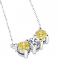 Three Stone Diamond & Yellow Diamond Pendant Necklace 14k White Gold (1.00ct)