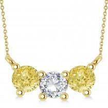 Three Stone Diamond & Yellow Diamond Pendant Necklace 14k Yellow Gold (1.00ct)