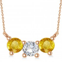 Three Stone Diamond & Yellow Sapphire Pendant Necklace 14k Rose Gold (1.00ct)