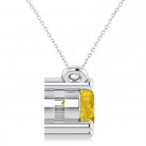 Three Stone Diamond & Yellow Sapphire Pendant Necklace 14k White Gold (1.00ct)|escape