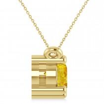 Three Stone Diamond & Yellow Sapphire Pendant Necklace 14k White Gold (1.00ct)