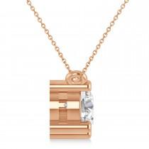 Three Stone Diamond Pendant Necklace 14k Rose Gold (1.50ct)