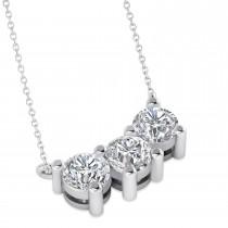 Three Stone Diamond Pendant Necklace 14k White Gold (1.50ct)