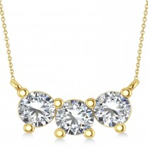 Three Stone Diamond Pendant Necklace 14k Yellow Gold (1.50ct)