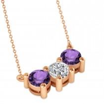 Three Stone Diamond & Amethyst Pendant Necklace 14k Rose Gold (1.50ct)