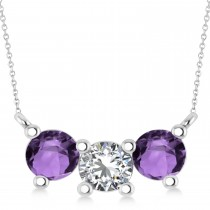 Three Stone Diamond & Amethyst Pendant Necklace 14k White Gold (1.50ct)