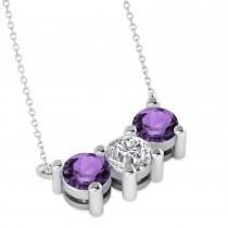 Three Stone Diamond & Amethyst Pendant Necklace 14k White Gold (1.50ct)