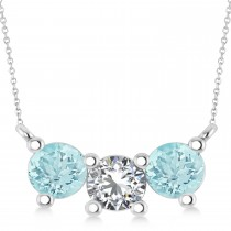 Three Stone Diamond & Aquamarine Pendant Necklace 14k White Gold (1.50ct)