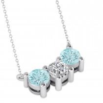 Three Stone Diamond & Aquamarine Pendant Necklace 14k White Gold (1.50ct)