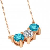 Three Stone Diamond & Blue Diamond Pendant Necklace 14k Rose Gold (1.50ct)