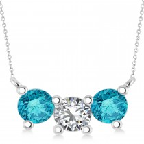 Three Stone Diamond & Blue Diamond Pendant Necklace 14k White Gold (1.5ct)