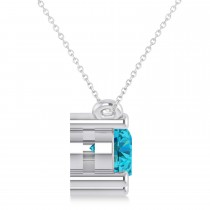 Three Stone Diamond & Blue Diamond Pendant Necklace 14k White Gold (1.50ct)