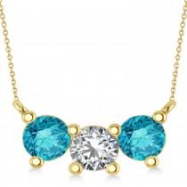 Three Stone Diamond & Blue Diamond Pendant Necklace 14k Yellow Gold (1.50ct)