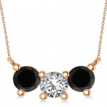 Three Stone Diamond & Black Diamond Pendant Necklace 14k Rose Gold (1.5ct)