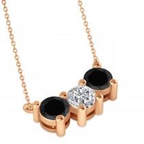 Three Stone Diamond & Black Diamond Pendant Necklace 14k Rose Gold (1.50ct)