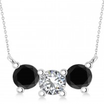 Three Stone Diamond & Black Diamond Pendant Necklace 14k White Gold (1.50ct)