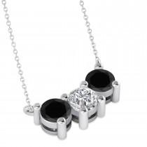 Three Stone Diamond & Black Diamond Pendant Necklace 14k White Gold (1.50ct)