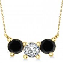 Three Stone Diamond & Black Diamond Pendant Necklace 14k Yellow Gold (1.50ct)