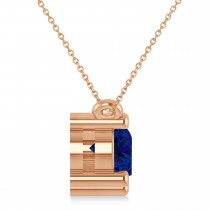 Three Stone Diamond & Blue Sapphire Pendant Necklace 14k Rose Gold (1.50ct)