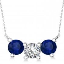 Three Stone Diamond & Blue Sapphire Pendant Necklace 14k White Gold (1.50ct)