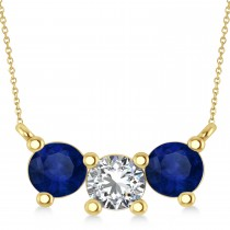 Three Stone Diamond & Blue Sapphire Pendant Necklace 14k Yellow Gold (1.5ct)