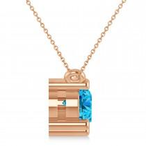 Three Stone Diamond & Blue Topaz Pendant Necklace 14k Rose Gold (1.50ct)