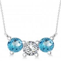 Three Stone Diamond & Blue Topaz Pendant Necklace 14k White Gold (1.50ct)